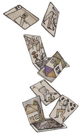 Illustration of cards showing  houses and a guy falling