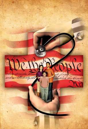 Illustration of stethoscope checking heartbeat of  the U.S. Constitution