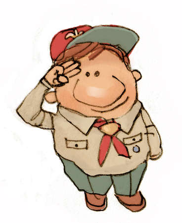 Illustration of a Boy Scout saluting