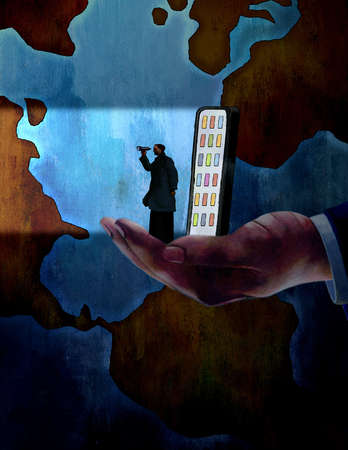 Large hand cupping illuminated cell phone and man with binoculars in front of globe