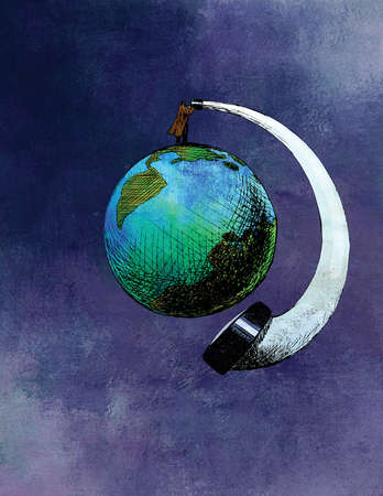 Man on top of globe looking at bottom of globe through curved telescope