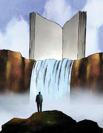Man watching waterfall descend from large book on cliff