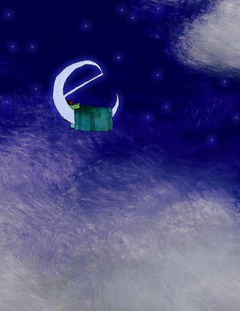 Man sleeping on e-shaped moon in night sky