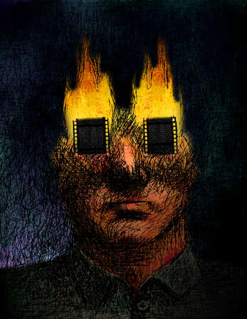 Man with burning film covering eyes