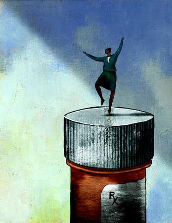 Woman dancing on top of prescription bottle
