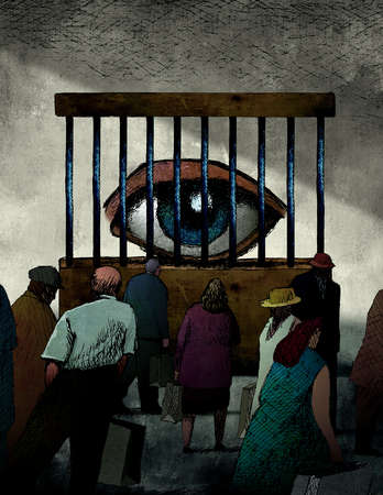People looking at eye behind prison bars