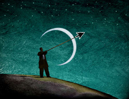 Man pointing stick with cursor in front of crescent moon