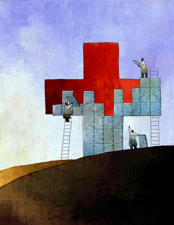 Doctors in lab coats placing tiles over red cross