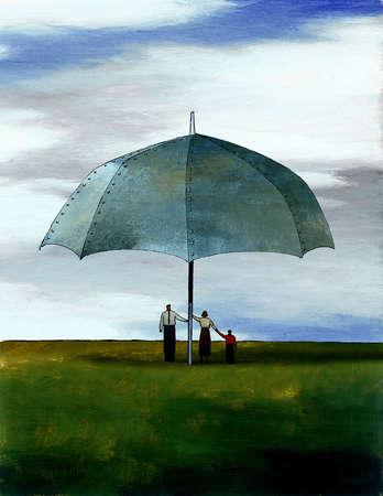 Family under enormous steel umbrella