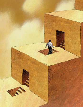 Businessman ascending small steps through openings in large steps