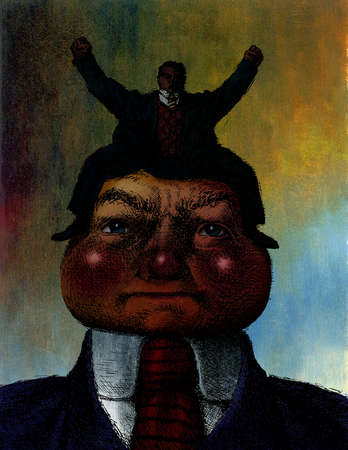 Small businessman with arms raised sitting on large businessman's head