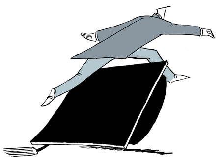 Businessman jumping over mortarboard