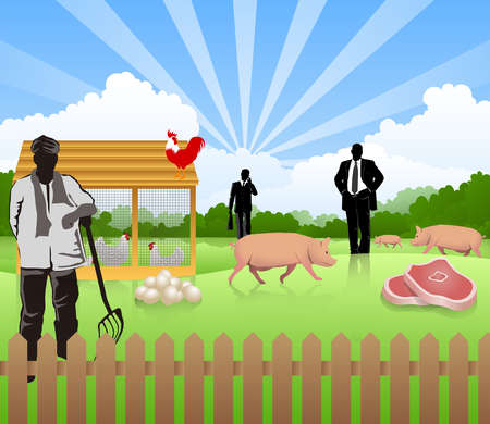 Illustrative representation of poultry business
