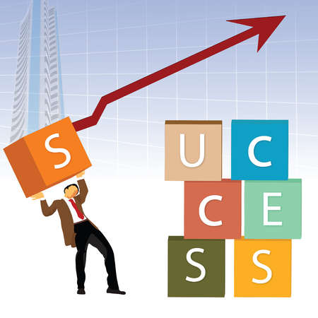 Illustrative representation of a businessman building the word 'SUCCESS' with boxes