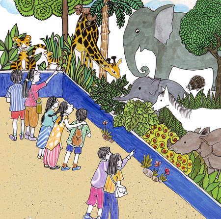 Kids enjoying at a zoo