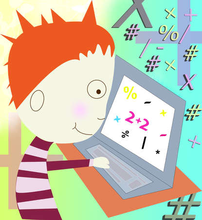 Boy learning on a computer