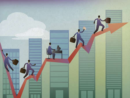 Business executives competing to reach the top