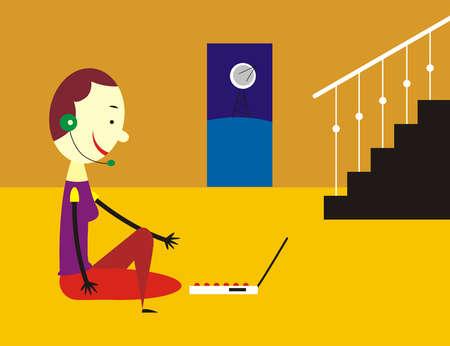 Woman wearing headset using laptop