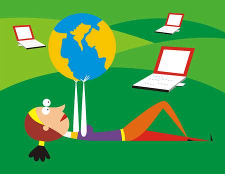 Woman laying near laptops lifting globe