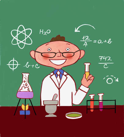 Scientist in laboratory with beakers and test tubes