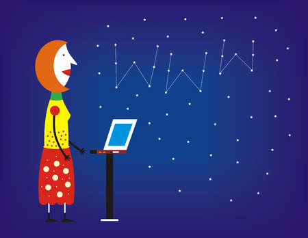 Woman with laptop looking at www formation in starry sky