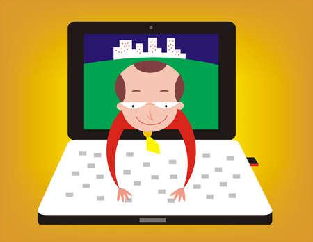 Man reaching out of laptop screen to type on keyboard