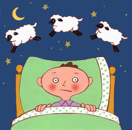 Awake man laying in bed counting sheep