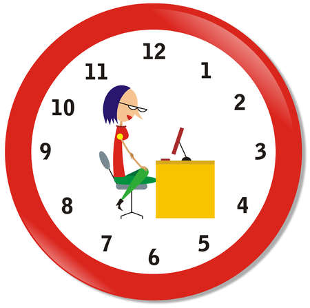 Clock face with picture of woman sitting at desk