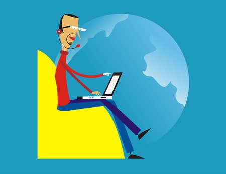 Man in headset typing on laptop