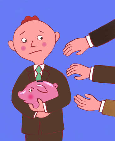 Businessman protecting piggy bank from grabbing hands
