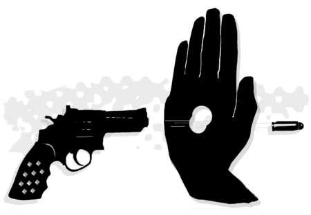 Gun shooting a bullet through a man's hand