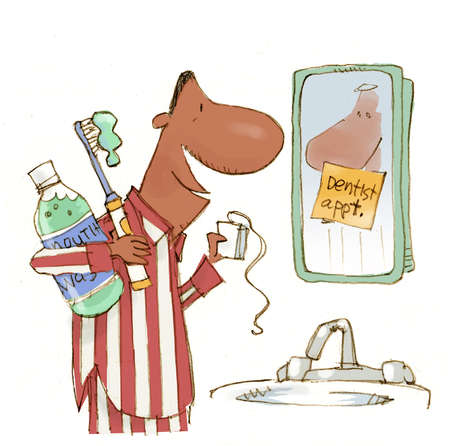 Illustration of man preparing for dentist's appointment with mouthwash, toothbrush, dental floss
