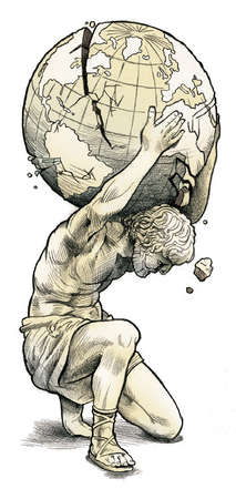Greek statue holding crumbling globe on his shoulders