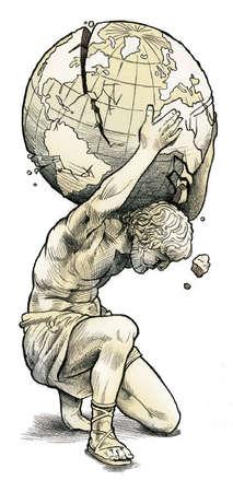 Greek statue holding crumbling globe on his shoulders
