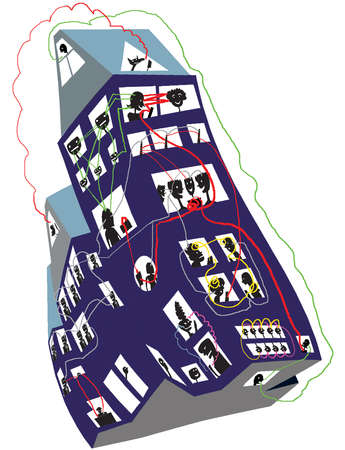 Illustration of an office building with silhouettes of workers all wired together via a web network