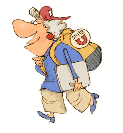 Illustration of senior citizen heading off to take classes at a college