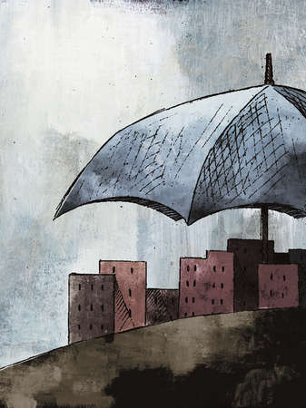Large umbrella shielding city