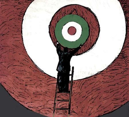 Businessman adjusting target on bull's-eye