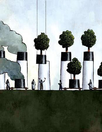 People guiding trees onto smoke stacks