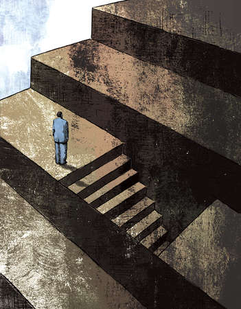 Businessman facing large steps