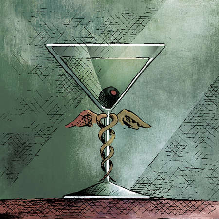 Caduceus wrapped around stem of martini glass