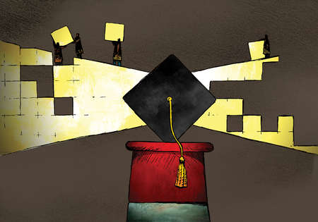 People with yellow cubes forming light around mortarboard