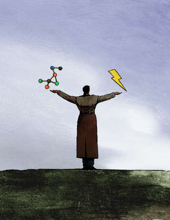 Man balancing molecule and lightning bolt