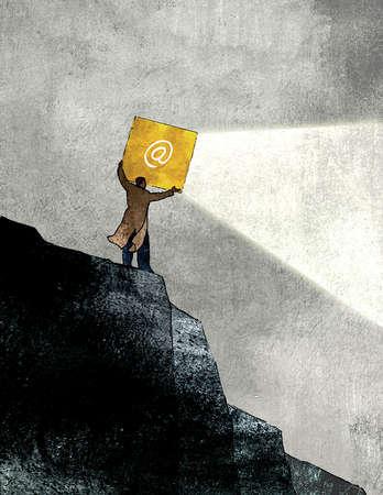 Man shining 'at' symbol floodlight down cliff