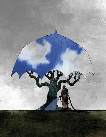 Man watering tree covered by umbrella