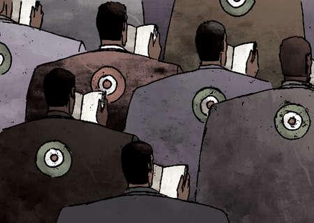 Bull's-eye targets on businessmen's backs