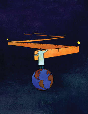 Scientist on globe measuring outer space with ruler