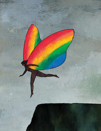 Woman with rainbow wings flying over cliff