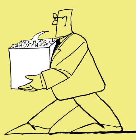 Businessman carrying box of letters