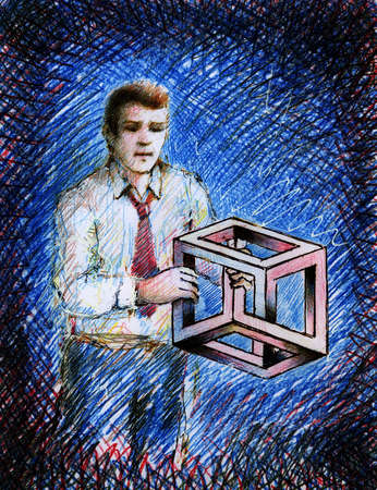 Businessman holding tangled cube